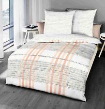 Kaeppel Seersucker Bettwäsche 155x220cm Anyway Apricot Silber Weiß Baumwolle