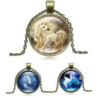 Kette Jahrgang Cabochon Glas Steampunk Einhorn Halskette Pegasus Anhänger