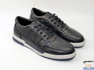 Men's Shoes Genuine Ostrich Skin Leather Handmade Black Size 11US - 44EU #2208