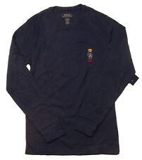 Polo Ralph Lauren Men's Navy Casual Bear Waffle Knit Thermal Long Sleeve Shirt