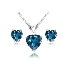 Heart Solitaire London Blue Topaz Necklace and Stud Earrings Set in 925 Silver