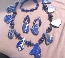 Navajo Chunky Sodalite & Silver Necklace, Bracelet & Earrings Set JS0001