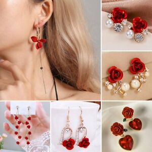 Fashion Red Rose Flower Zircon Earrings Stud Women Wedding Drop Dangle Jewellery