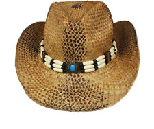 Snake Skin Style Straw COWBOY HAT w  Beads Turquoise WOMEN MEN WESTERN  Cowgirl 0edc526f2c24