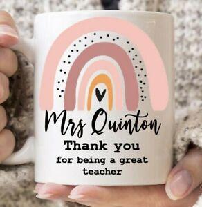 Great Teacher personalised gift Teacher  Mug Thank You rainbow School 2021