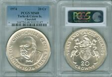 "1974 TURKS & CAICOS IS. 20 CROWNS ""CHURCHILL"" PCGS MS68 ONLY 2 GRADED HIGHER"