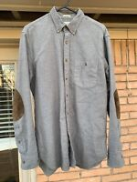 J CREW Gray 100% Cotton Long Sleeve Shirt Suede Elbow Patches Size M Classic Fit