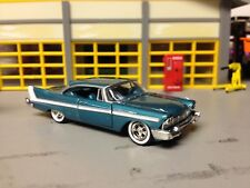 1/64 1958 Plymouth Belvedere in Teal/White/Camando V8 with 2-4's and Mags