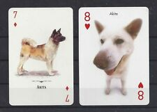 Two Single (Markevicius & Artlist) Dog Art Photo Trade Playing Card Cards Akita