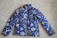 Love Moschino Blue Chain Print Down Zip Jacket Coat Womens Size UK 8 / US 4