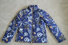 Love Moschino Blue Chain Print Down Zip Jacket Coat Womens Size UK 8 / US 4