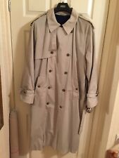 Pierre Cardin Classic Long Rain Coat In Stone/ Cream With Navy Fleece, Superb L