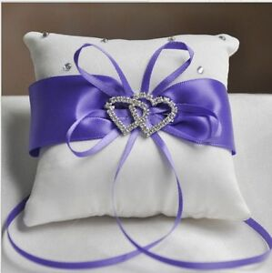 Wedding Cusion Pillow Ceremony Ring Bearer Royal White Ribbon Decor Decoration