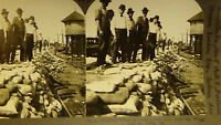 PHOTO STEREOVIEW ST LOUIS FLOOD MO  TRAIN TRACKS, DEPOT, DISASTER   card