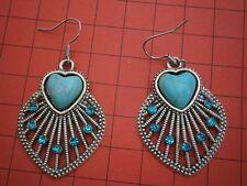 BT479) Tibetan silver Boho ethnic faux turquoise heart inlay hook earrings