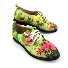 Schuh Womans Shoes Size 4 UK Flat Lace Up Casual Ladies Floral Footwear Green