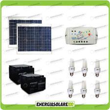 Kit solare illuminazione 5 ore pannelli 60W 24V 6 lampade fluorescenti 7W baita