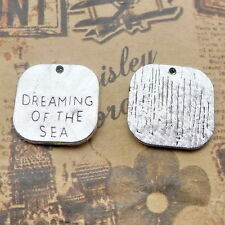 10pcs Charms DREAMING of the SEA Word Old Silver Bead DIY Jewelry Pendant19*19mm