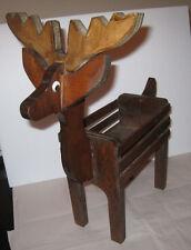 Vintage Brown Wood Reindeer Box Container