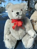 "VINTAGE TEDDY BEAR SILVER GRAY MOHAIR SMALL 8"" HERMANN WEST GERMANY ORIGINAL TAG"