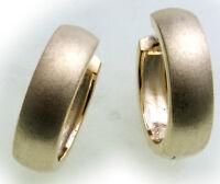Damen Ohrringe Klapp Creolen mattiert Glanz gewölbt echt Gold 333 Gelbgold Neu