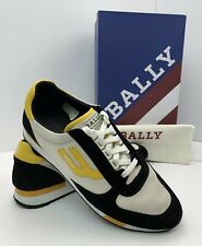 BALLY Gavino Retro Men's Running Sneakers Shoes Black Suede Yellow Authentic