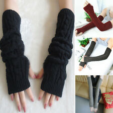 Long Sleeves Arm Warmers Mittens Cable Knit Women Winter Warm Fingerless Gloves