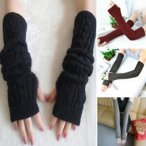 Women Warm Knitted Fingerless Gloves Wrist Arm Warmers Winter Soft Thick Mittens