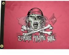 """Zombie Pirate Girl 12"""" x 18"""" Two Sided Pink Green Flag 200denier Home Boat Usa"""