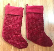 2 Pottery Barn Ruby Red Large Quilted Velvet Channel Quilted Christmas Stocking