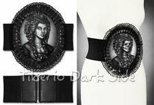 RESTYLE Skeleton Lady Hologram Print Cameo Lace Trim Gothic Lolita Cincher Belt