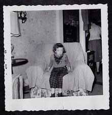 Antique Vintage Photograph Cute Little Girl Sitting in Chair in Retro Room