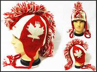 Mohawk canadan flag Hat cap beanie Pilot handmade 100% Wool W/ Fleece lining!