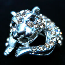 Fashion RING monster animal crystal rhinestone finger glaze silver punk bizarre