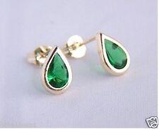 9ct Gold Small TEARDROP EMERALD Studs Earrings Anniversary B'day Mums GIFT BOX N