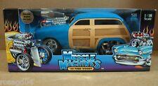Muscle Machines 1950 Ford Woody Blue Car Real Braided Steel Line Die-Cast 1:18
