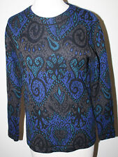 MISSONI Orange Label Blue Black Brown Abstract Wool Twinset Sweater 42 46 L