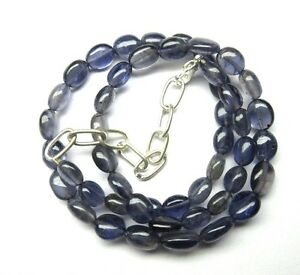 Natural Iolite Gemstone Smooth Oval Beads NECKLACE 116.50-Crts - S14