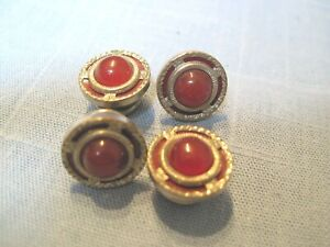 ART DECO SNAP LINK TYPE DOUBLE SIDED RUBY RED STONE CUFFLINK SET