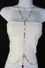 New Women Classic Thin Gold Metal Body Chain Leaf Fashion Jewwlry Long Necklace
