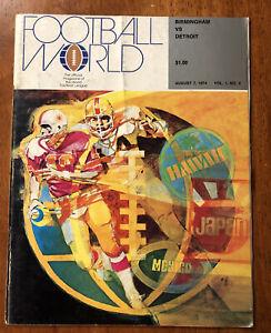 RARE 1974 WFL Program Birmingham Americans vs Detroit Wheels