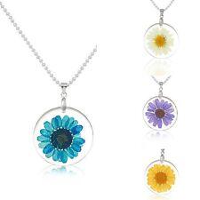 UK REAL DRIED FLOWER DAISY NECKLACE Gift Idea Pendant Jewellery Boho Hippie