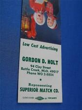 GORDON HOLT ADVERTISING SAMPLE CHILDREN XMAS CAROL BATTLE CREEK MI MATCHBOOK
