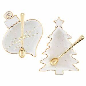 Mud Pie H0 Silver Bells Splatter Figural Christmas Dip Cup & Spoon Set - Choo...