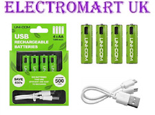 4 X USB RECHARGEABLE AA MN1500 NI-MH BATTERIES INC TWIN MICRO USB CHARGER CABLE