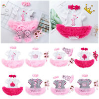 Infant Baby Girls Birthday Tutu Dress Headband Set Newborn Kids Party Outfits