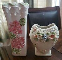 Ceramic Heart Shaped Hand Painted Floral Design Vase and Tall Glazed Floral Vase