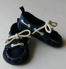 Baby Gap 12-18 Months Navy Blue Crib Shoes Slip-on Laces Loafer Dress Holiday