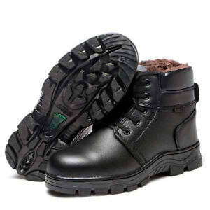 New Men's Genuine Leather Cotton Boots Anti-puncture Safety Shoes Steel Head