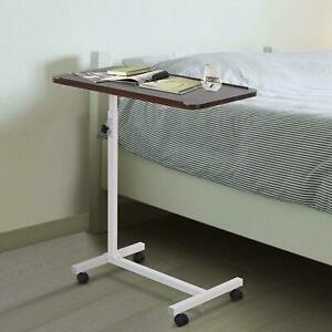 Adjustable Height Over Bed Chair Wooden Table With Castors Hospital Rolling Tray